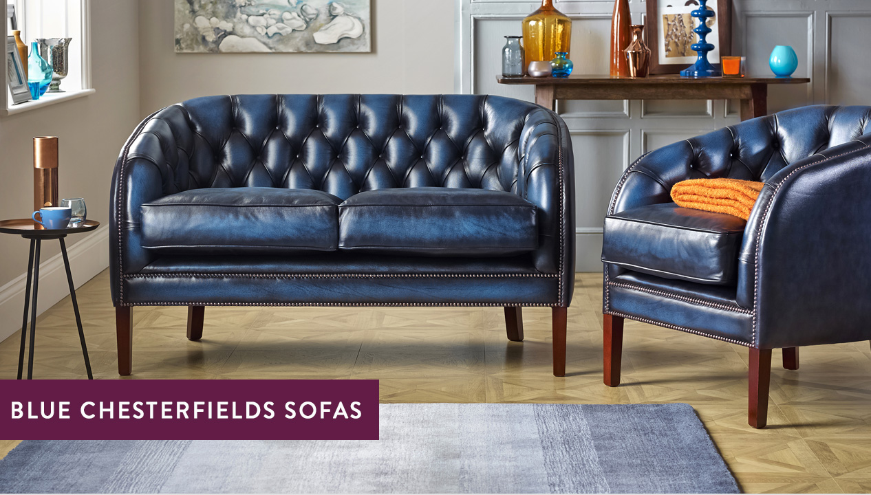 Blue Chesterfield Sofas – Luxury Tufted Styles | Sofas by Saxon