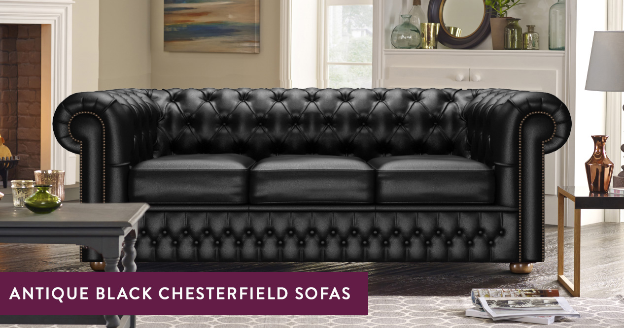 Antique-Look Black Chesterfield Sofas – Made in the UK | Sofas by Saxon