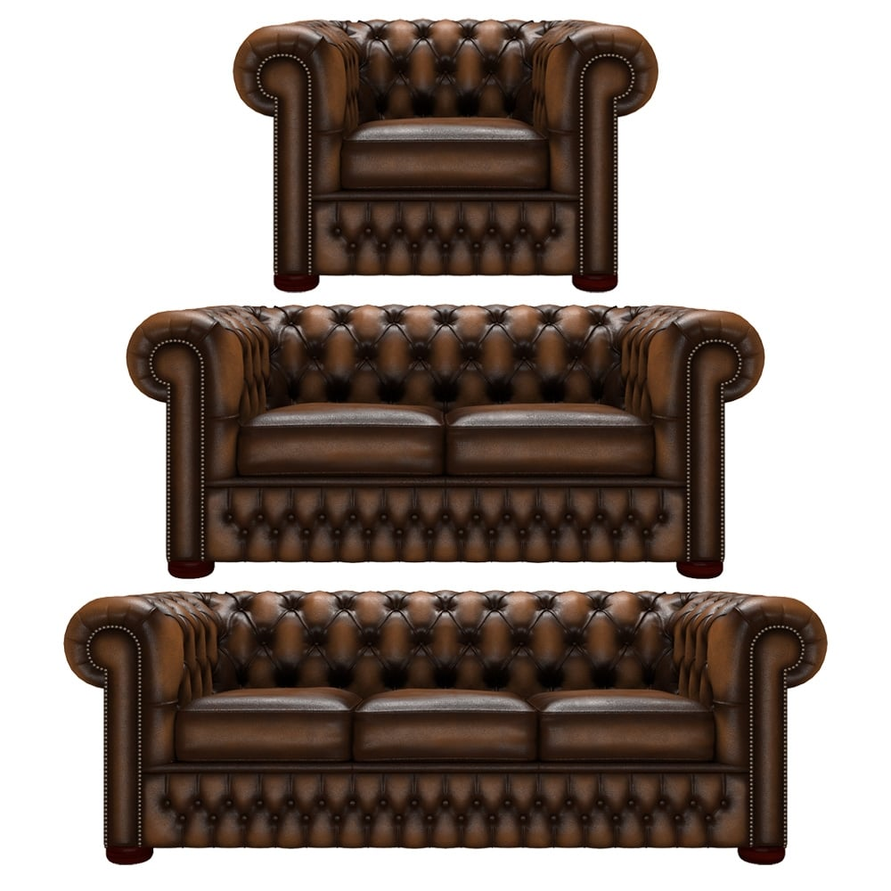 Chesterfield Sofa Saxon: Chesterfield 3 Seater, 2 Seater And Chair In Antique