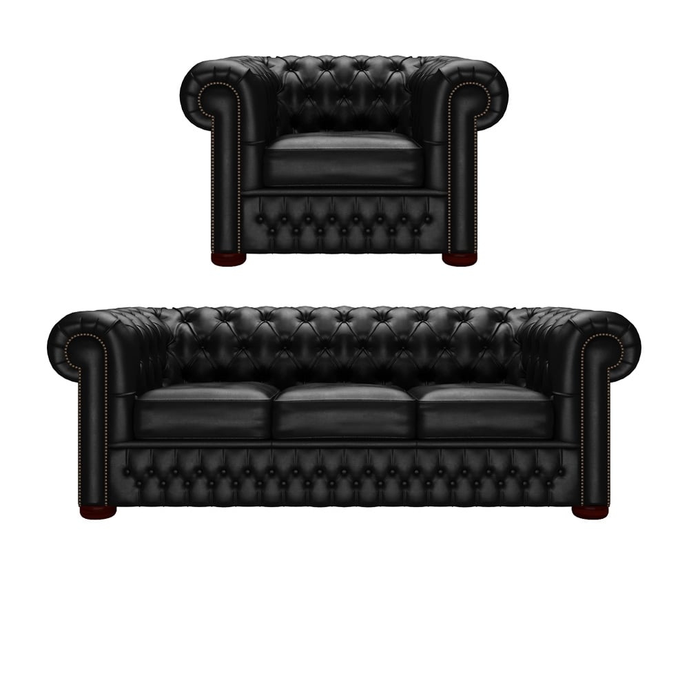 Chesterfield 3 Seater Sofa & Chair in Vele Black