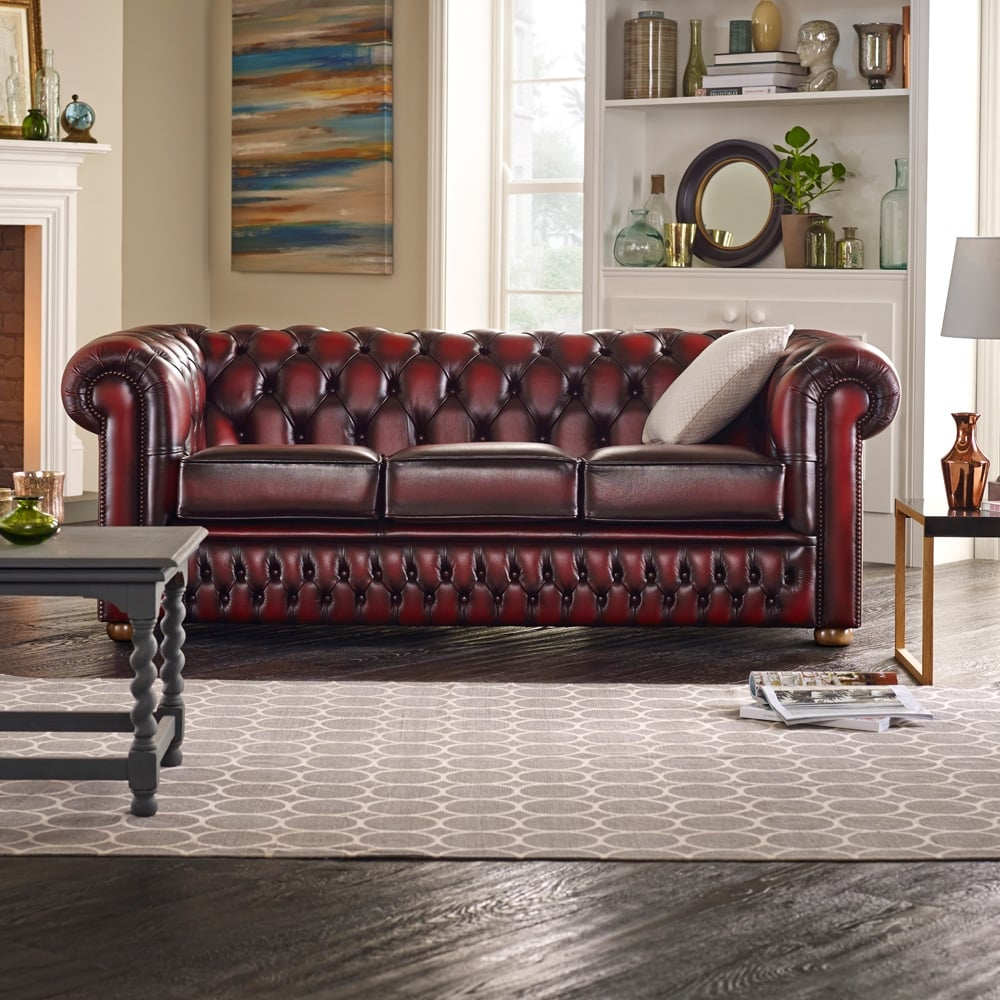 Buy a 3 seater chesterfield sofa at sofas by saxon for Living room ideas with 3 sofas