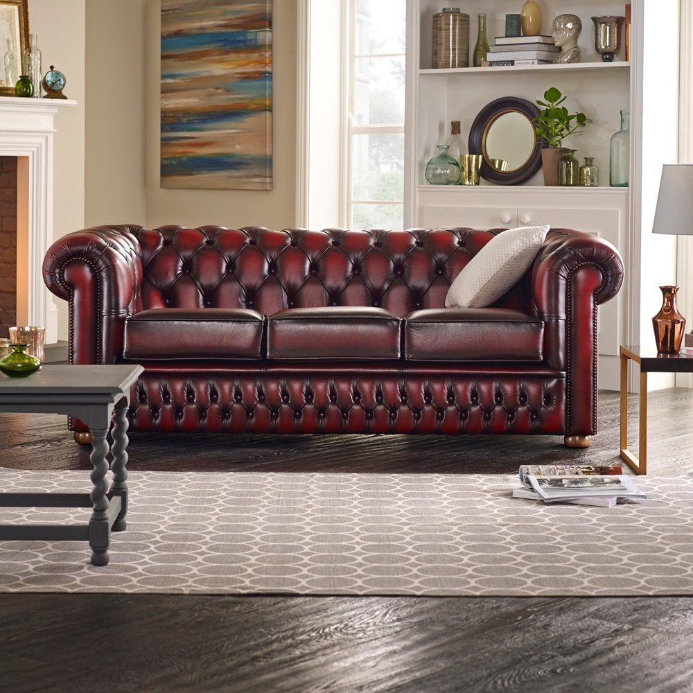 Buy a 3 seater chesterfield sofa at sofas by saxon for Sofa bed 3 2