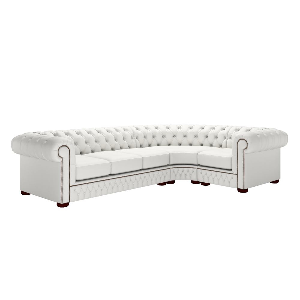 Chesterfield corner unit 3 x 1 in vele white with chrome for Sofa with studs