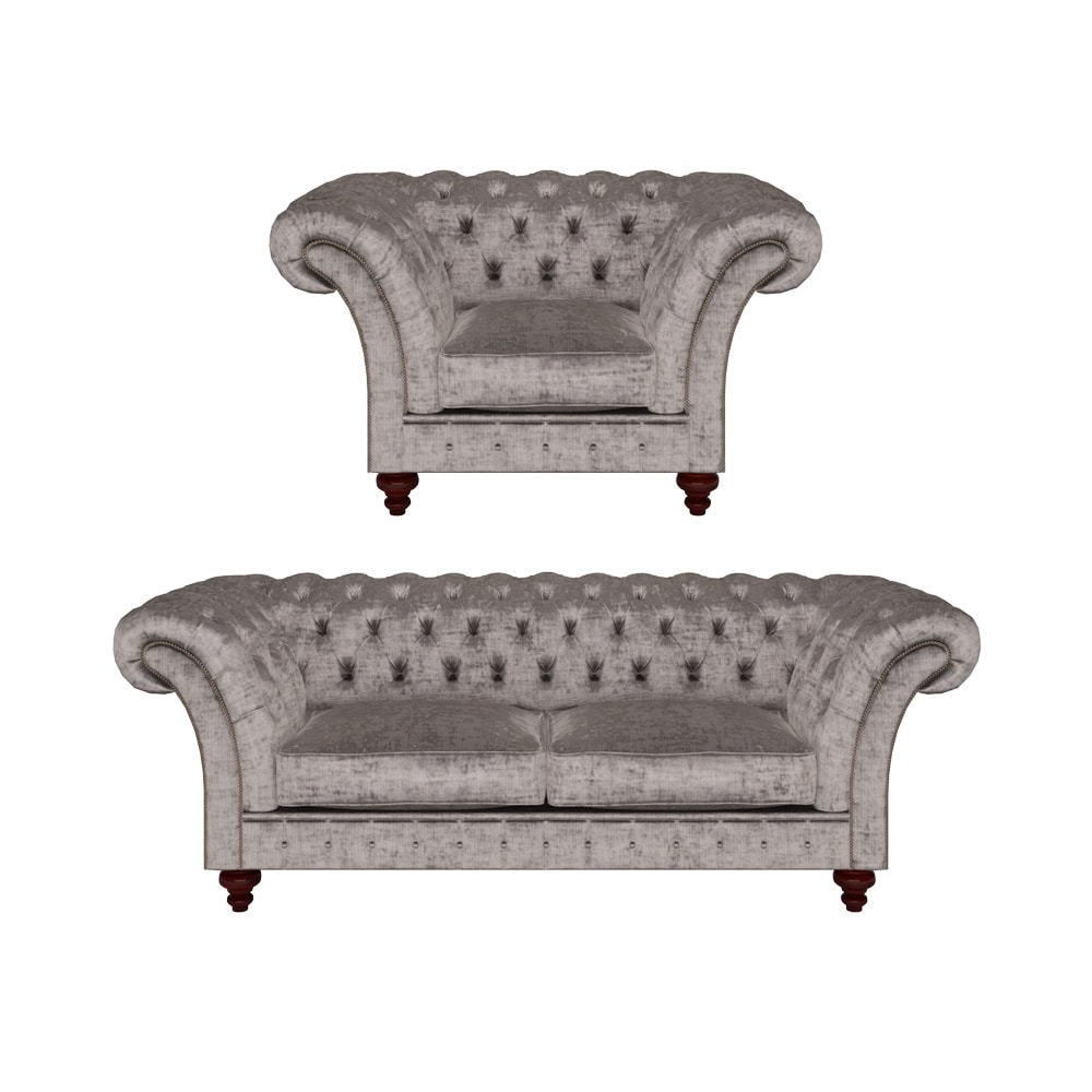 Grosvenor 3 Seater Sofa & Chair in Modena Grey - from Sofas by Saxon UK