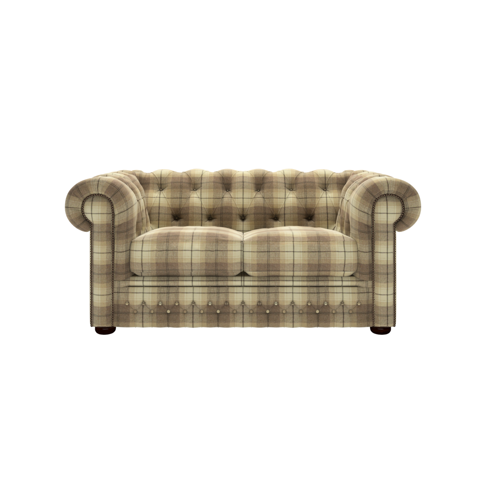 Knightsbridge 2 Seater Wool Plaid Devon Fudge - from Sofas by Saxon UK