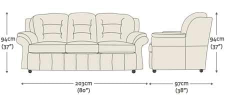 Durham 3 Seater Sofa - from Sofas by Saxon UK