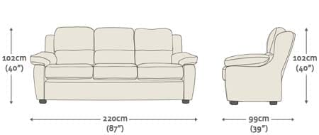 100 3 Seater Sofa Dimensions Chateaux 3 Seater Sofa