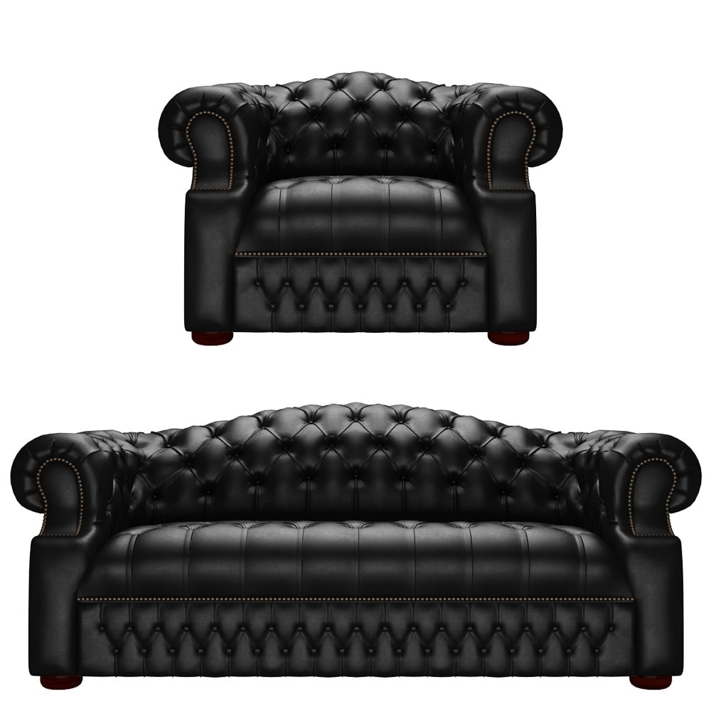 Sandringham 3 Seater Sofa & Chair in Vele Black
