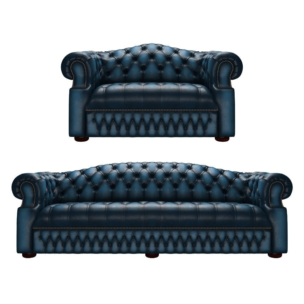 Brilliant Sandringham 4 Seater And Chair Antique Blue Inzonedesignstudio Interior Chair Design Inzonedesignstudiocom